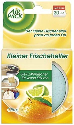 Air Wick Kleiner Frischehelfer Citrus – Gel-Lufterfrischer für kleine Räume, Schuhschränke, Mülleimer-Deckel u.a. – 6 x 30g