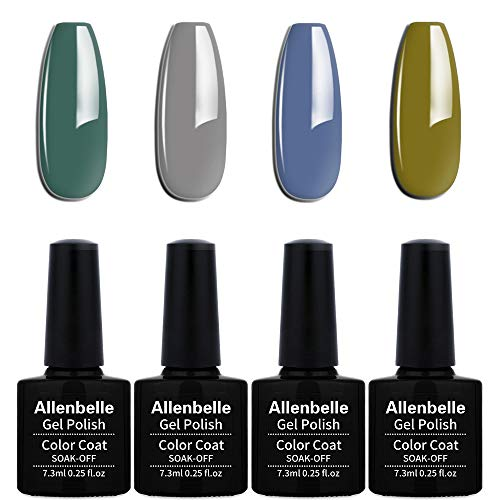Allenbelle Esmaltes Permanentes Para Uñas Nail Art Soak Off UV LED Esmalte Permanente de gel (Lot 4 pcs 7.3ML/pc) 019