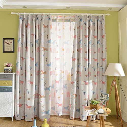 Michorinee Vorhang Kinderzimmer Mädchen Gardinen Verdunkelung Kräuselband Blickdicht Blumen Muster Pferd Baum mit Haken für Wohnzimmer Fenster 1 Stück 158 × 132cm (H × B)