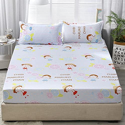 CYYyang Protector de colchón/Cubre colchón Acolchado, Ajustable y antiácaros. Sábana Antideslizante con Todo Incluido de Color puro-19_150 * 200 * 25cm