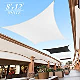 Royal Shade Custom Size Order to Make Sun Shade Sail RTAPR0812 Canopy Mesh Fabric UV Block Rectangle - Commercial Standard Heavy Duty - 200 GSM - 5 Years Warranty (8' x 12', White)