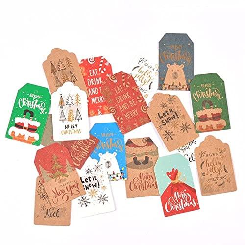 50 etiquetas de papel de Navidad estilo Kraft/blanco hechas a mano DIY Cake Bag Hang Tag Gift Wrapping Supplies Labels-Mix