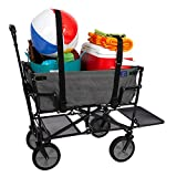 Plymouth Sport Suburban Wagon Performance Air Intakes - MacSports Double Decker Collapsible Outdoor Utility Wagon with Straps   Folding Pull Cart for Sports Baseball Pool Camping Fishing, Collapsable Fold up Wagon w/Wheels, Heavy Duty Steel, Two Tone Gray