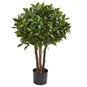 "Nearly Natural 37"" Bay Leaf Topiary Artificial Silk Trees Green"