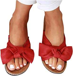 Womens Slides Beach Thong Slipper,Summer Bow Tie Flip Flops Flat Sandals for Women