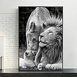 Cuadro En Lienzo Cartel Moderno e imágenes del león Africano para el sofá de la Sala de Estar,30x45cm,Pintura sin Marco