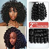 8 inch Black Wand Curly Braids Jamaican Bounce African Collection Crochet Hair Havana Mambo Twist Synthetic Braiding Hair Piece 22 Roots/Pack (1b#-Black)