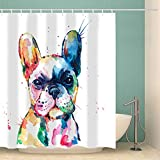 Abaysto Frenchie French Bulldog Original Watercolor of Dog Rainbow Bathroom Decor Shower Curtain Sets with Hooks Polyester Fabric Great Gift