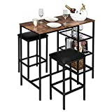 VINGLI Bar Table Set 3-Piece Counter Height Dining Set Vintage Pub Dining Set with Storage Shelves Wood Bar Table and 2 Upholstered Stools for Kitchen, Bar, Living Room, Party Room