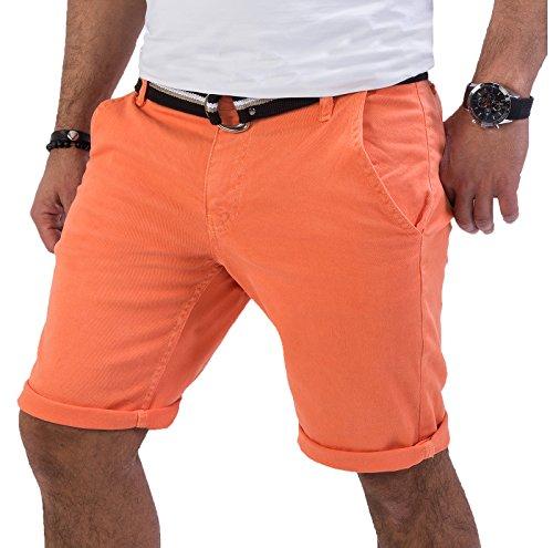 Rock Creek Herren Chino Shorts Hose Kurz Chinoshorts Inkl Gürtel Männer Sommer Bermuda Stretch Rc-2133 34 Coral