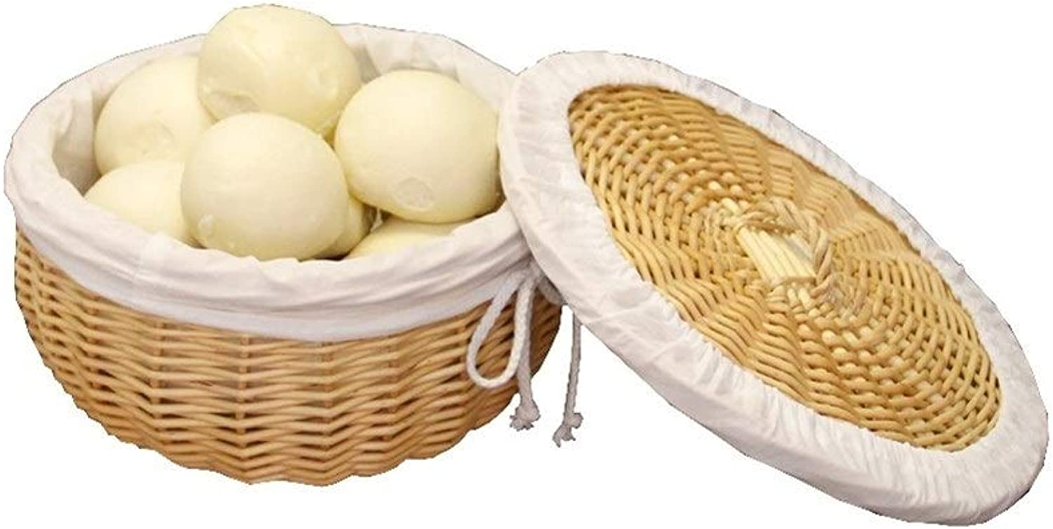 Handmade Rattan Basket, Covered Bread Basket with lid, Home Restaurant Weaving Fruit and Vegetable Basket, Round, Cotton Lining (Size   L)