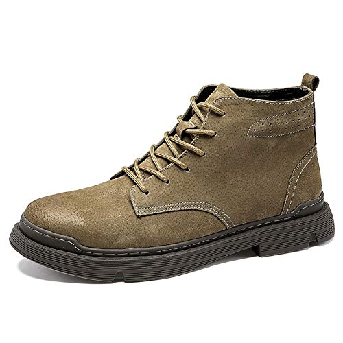 XIEQUN Retro enkellaarsjes for mannen Work Boots Lace up PU Leather Vegan Outdoor ronde neus Stikkende Slijtvast effen kleur Patchwork (Color : Khaki Fleece Inside, Size : 42 EU)