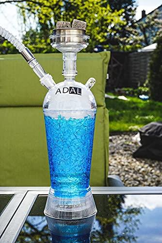ADAL ICE-Shisha | Kühler- Shisha Rauch | ICE Travel-Shisha | Komplett-Set inkl. abnehmbarer LED Untersetzer + Zange & Schlauch | Für Zuhause & Unterwegs | Plexiglas - Acryl (Blau)