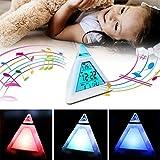 ILS – 7 colores LCChanging Triángulo despertador digital lámpara de noche mesita de noche lámpara