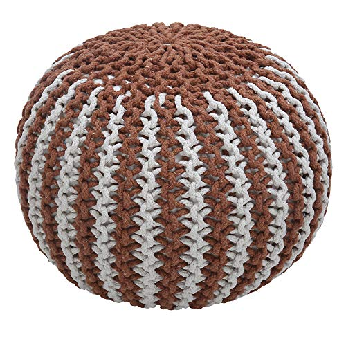 RAJRANG BRINGING RAJASTHAN TO YOU Hand Knit Pure Cotton Stuffed Pouf - Braid Cord Stitched Round Footstool Ottoman Home Decorative for Living Room Perfect Outside Seating (D-20 x H-14 inch, Rust)