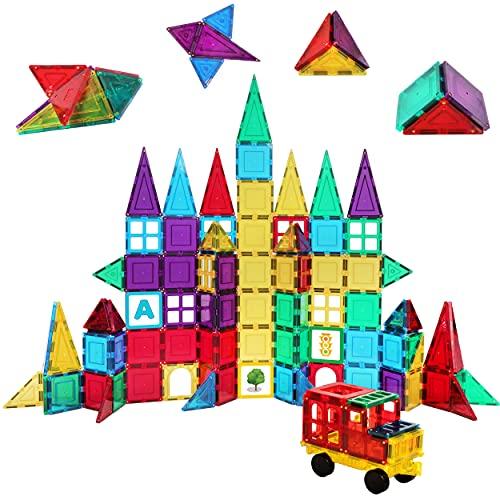 Shapemags 100 Piece Set 100 Pcs Magnet Building Tiles Magnetic Blocks - Classic Set with Stabilizer Plate, Car Base, 3D Construction Building