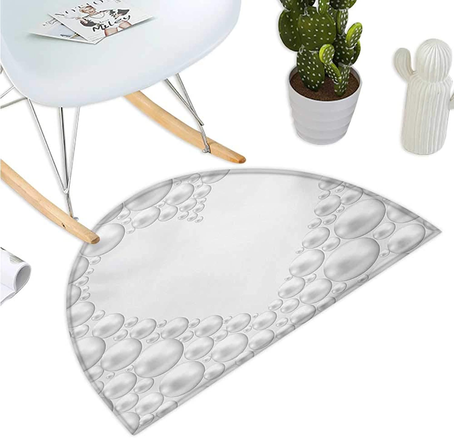 Pearls Semicircular Cushion Frame with Pearls in Heart Shape Stylish Bridal Accessories Monochromic Artwork Print Entry Door Mat H 35.4  xD 53.1  White