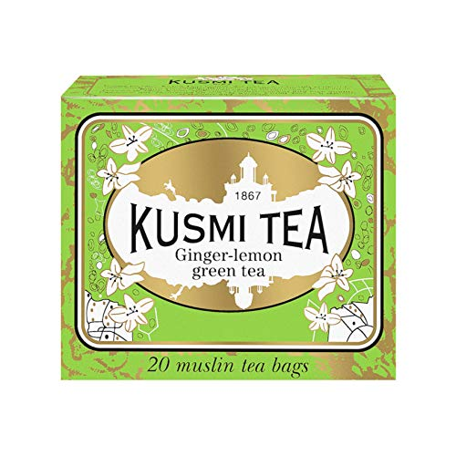 Kusmi Tea - Ginger Lemon Green Tea - Refreshing Green Tea Blend flavored with Lemon Scent and Ginger - All Natural, Premium Loose Leaf Green Tea in 20 Eco-Friendly Muslin Tea Bags