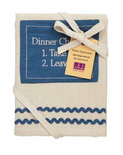 IHF Home Decor Kitchen Dishtowel Picnic Blue Design 20 Inch x 28 Inch 3 Piece Dishtowels Gift Set 100% Cotton Material