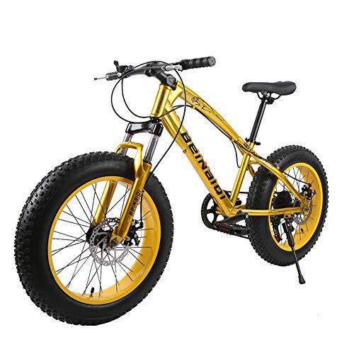 XIAOFEI Gomma Spiaggia Fat Bike 24'/ 26' di Buona qualità, Mountain Bike Nuovo Modello, Fat MTB, Snow Bike, Mountain Bike in Acciaio Alta velocità 21 velocità per Uomo,Giallo,26'