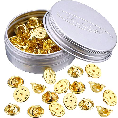 Brass Clutch Badge Insignia Clutches Pin Backs Replacement (Gold, 50 Pieces)