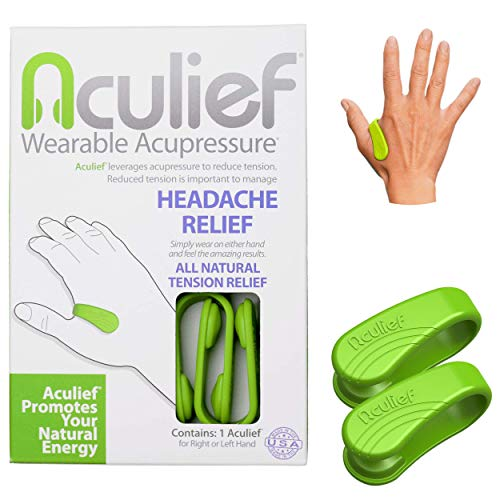 Aculief  Award Winning Natural Headache Migraine Tension Relief Wearable – Supporting Acupressure Relaxation Stress Alleviation Soothing Muscle Pain  Simple Easy Effective 2 Pack  Green