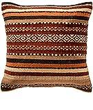 Second Nature Online - Funda de cojín (lana gruesa, estilo kilim), diseño de rayas, color rojo, marrón, crema y naranja 45cm x 45cm multicolor
