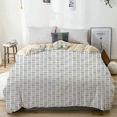 Juego de funda nórdica beige, patrón geométrico con estilo dibujado a mano, formas cuadradas aleatorias, cuadrícula abstracta, juego de cama decorativo de 3 piezas con 2 fundas de almohada, fácil cuid