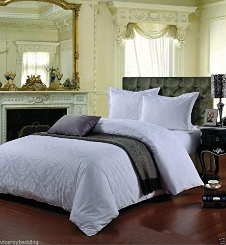 viceroy bedding 500 Thread Count DOUBLE BED SIZE DAMASK WHITE 100% Cotton Jacquard Duvet Cover With Pair of Pillowcases