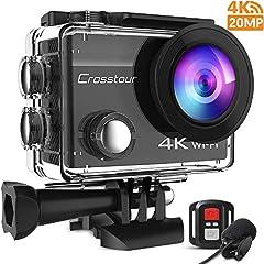 Crosstour Action Cam 4K 20MP WiFi-afstandsbediening en externe microfoon EIS Helmcamera Onderwater 40m waterdicht*