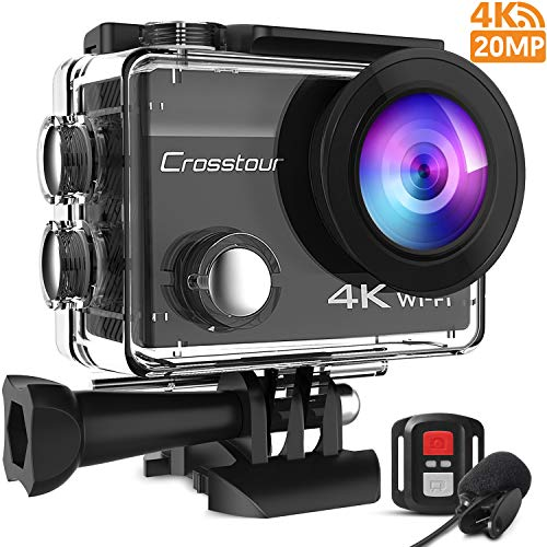 Crosstour CT8500 Action Cam 4K 20MP WiFi Action Camera(Fotocamera Subacquea Impermeabile 40M con Microfono Esterno, 170 ° Grandangolo e Anti-Agitazione, Telecomando e Kit di Accessori)