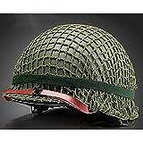 ZFAME Américain Soldat Casque en Acier Vert Régénérante Tactique Casque Ruban Manches/Lune Chin