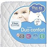 P'tit Lit - Matelas bébé Duo Confort - 70 x 140 x 12 cm - Anti-acariens -...