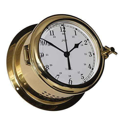 Delite Reloj de cristal Fyrkat de cristal de cuarzo árabe de latón pulido, 140 mm de ancho x 80 mm de alto 440csa