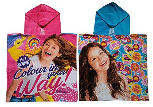 Disney Soy Luna Mädchen Bade Poncho mit Kapuze aus 100% Baumwolle, 2er Set in den Farben Rosa (Put Some Colour in Your Way!) und Blau (Rollschuh-Motive)