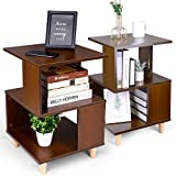 Modern Nightstand Set with Storage - amzdeal 2 Pack Bedside Table, Sturdy and Durable, Solid Wood Legs, Ample Storage, Water-Proof Surface, End Table Accent Table Side Table for Bedroom Home Office