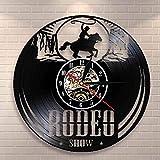 wttian Freedom Rider Cowboy Reloj de Pared Wild Cowboy Life Cowboy Disco de Vinilo Reloj de Pared Reloj de Montar Ecuestre Vintage