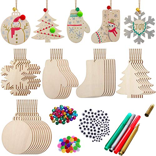 254 Pieces Christmas Unfinished Ornament Set Christmas Craft Wooden Christmas Tree Ornament withBlankWoodSlicesJingleBells, Pom Poms Wiggle Eyes and 4 Pieces Marking Pens for DIY Christmas Decor