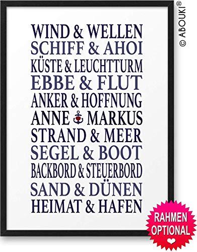 Traumpaar MARITIM ABOUKI® Kunstdruck [ideales Geschenk] - moderne Deko - Design Poster Bild » mit Namen personalisiert « Geschenkidee Hochzeit Valentinstag Jahrestag für Sie Ihn - Holz-Rahmen optional