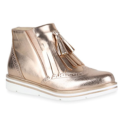 Damen Klassische Stiefeletten Quasten Metallic Boots Flache Schuhe 149185 Rose Gold Quasten 39...