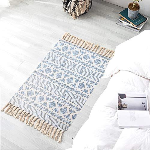 Satbuy Cotton Printed Kilim Porch Rugs Boho Entryway Thin Throw Rug Hand Woven Washable Outdoor Doormats 2'×3'