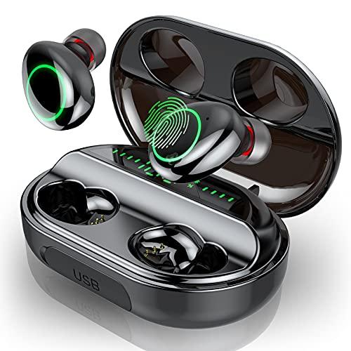 Auriculares Bluetooth, Motast IPX8 Impermeable Auriculares Inalámbricos 150H Playtime con Hi-Fi Estéreo, In-Ear Auriculares con Caja de Carga y Micrófono Integrado, Pantalla LED y Control Tactil