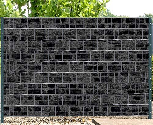 Melange met zwarte motiefprint zichtwerende stroken voor hek met dubbele spijlen Florence Stone 1