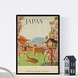 Nacnic Poster vintage. Cartel vintage de Asia. Ciervos de Japón. Tamaño A3