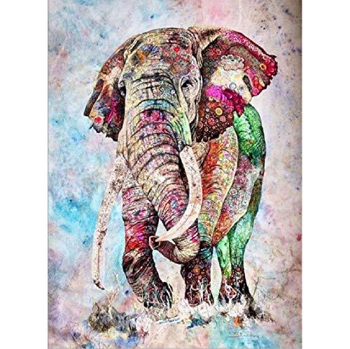 Kpoiuy Leinwand ÖLgemäLde Nach Zahlen Abstrakt Tier Elefant Malen Acryl Malvorlagen Wandbilder FüR Wohnzimmer Erwachsene Kits A 40 * 50CM Kein Bilderrahmen