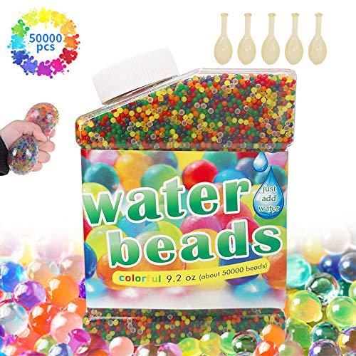 50,000 PCS Bolas de Gel de Agua, Perlas de Gel para decoración, Plantas, Flores, Mezclados cristalino Hidrogel Bolas(5 Globos Extra)