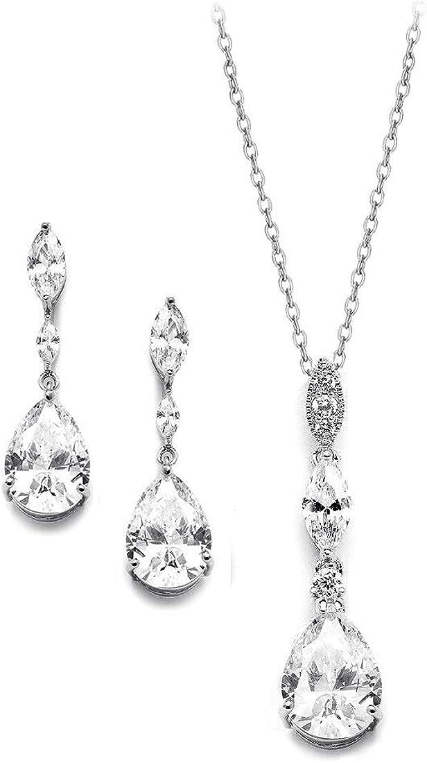 UDORA Zirconia Teardrop Long Earrings Necklace Bridal Bridesmaid Jewelry Sets Wedding Prom Women Gifts