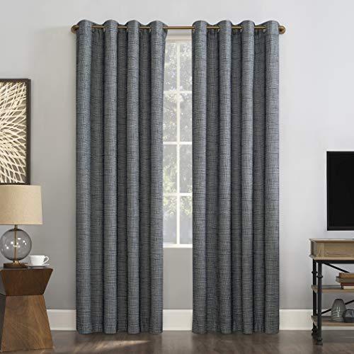 "Sun Zero Harding 2-Pack Burlap Weave Thermal Extreme 100% Blackout Grommet Curtain Panel Pair, 52"" x 63"", Blue"