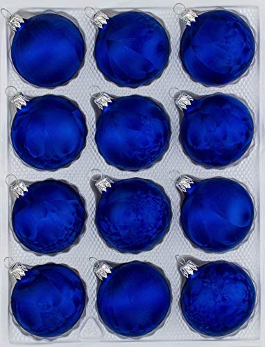 12delige set glazen kerstballen in Ice Royal Blauw ijslakkerstballenkerstversiering kerstboomversiering
