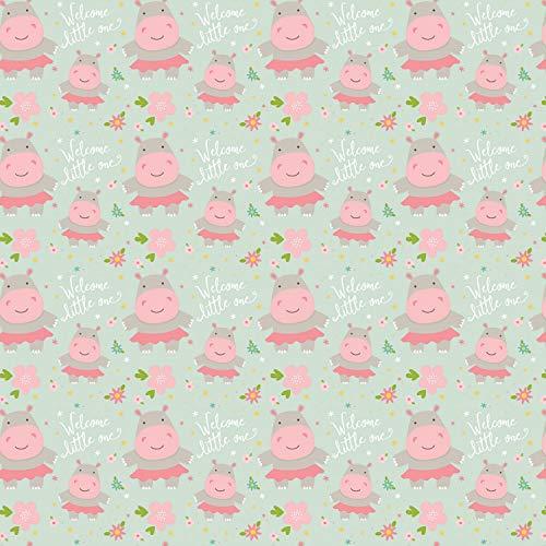 Tela para guardería, colección Sweet Baby Girl de Riley Blake, 0,5 m, 50 cm x 110 cm, 100% algodón Rbf865 Hippos Menta